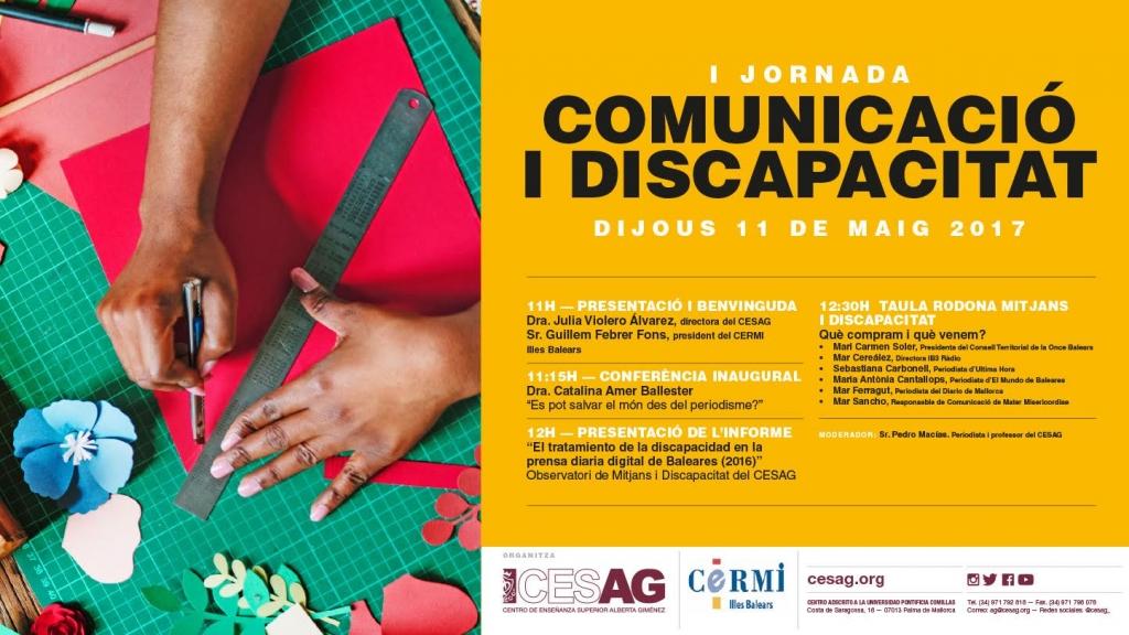 Cartel y programa de la I Jornada de Comunicación y Discapacidad en el CESAG
