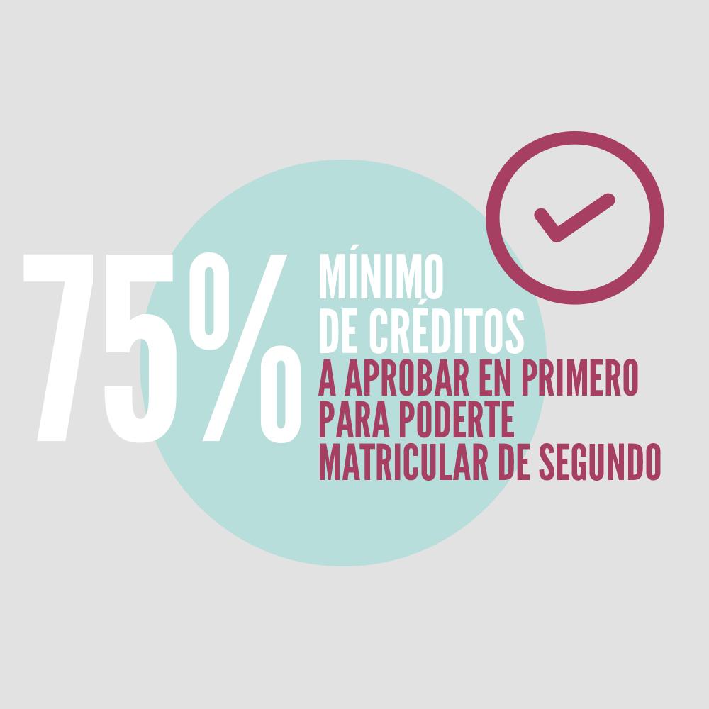 Imagen de la sección donde se informa del porcentaje mínimo de créditos matriculados a aprobar en 1º para poderse matricular de asignaturas de 2º el curso siguiente